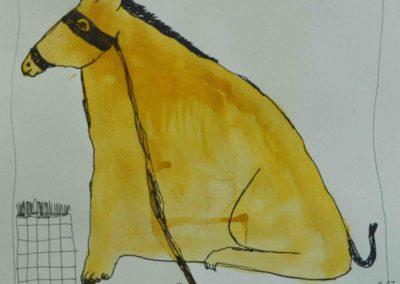 yellow horse, AOC, 32X44cm, 2014